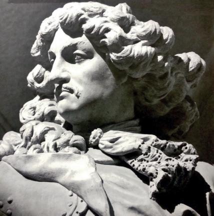 Fig. 109 - Merengo and Le Court, detail of portrait of Francesco Barbaro, Barbaro monument, 1678-80, marble, Santa Maria del Giglio, Favilla and Rugolo 2009 cover